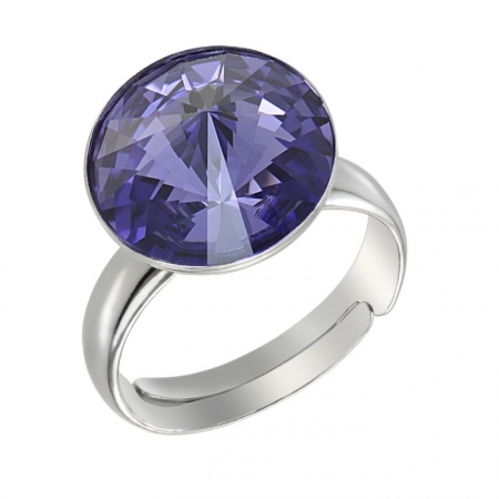 Inel argint 925 rodiat Reglabil cu swarovski elements 12 mm Provence Lavender