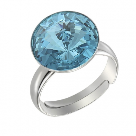 Inel argint 925 rodiat Reglabil cu swarovski elements Light Turquoise