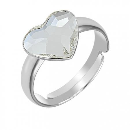 Inel argint 925 Reglabil cu swarovski elements inimioara Crystal Clear