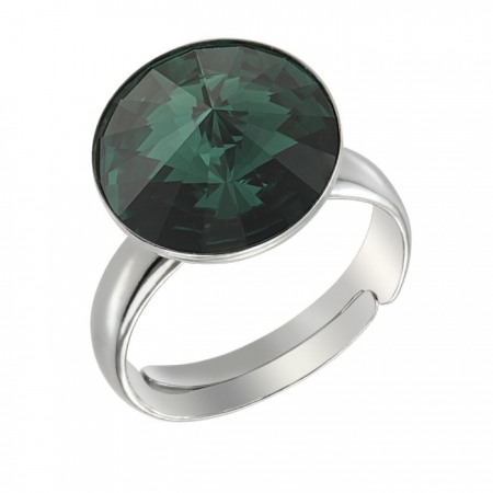 Inel argint 925 rodiat cu swarovski elements 12 mm Emerald