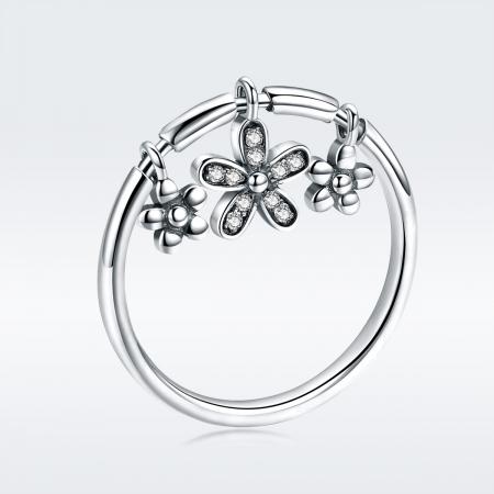 Inel argint 925 cu trei floricele si zirconii albe - Be Nature IST00533