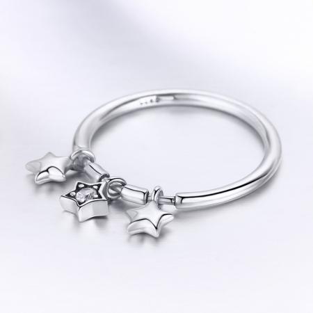 Inel argint 925 cu trei stelute si zirconiu alb - Be Nature IST00582