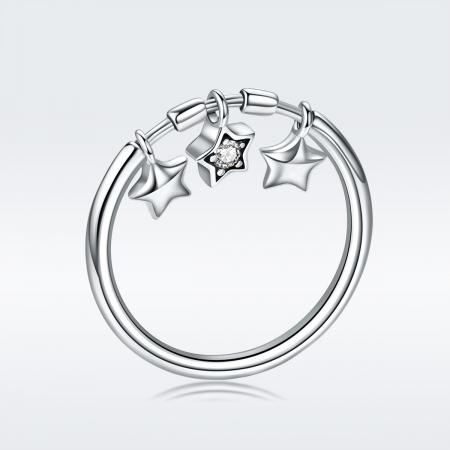 Inel argint 925 cu trei stelute si zirconiu alb - Be Nature IST00585