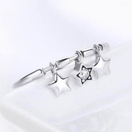 Inel argint 925 cu trei stelute si zirconiu alb - Be Nature IST00583