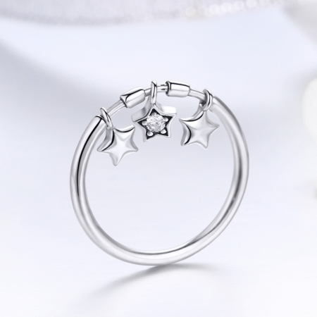 Inel argint 925 cu trei stelute si zirconiu alb - Be Nature IST00581