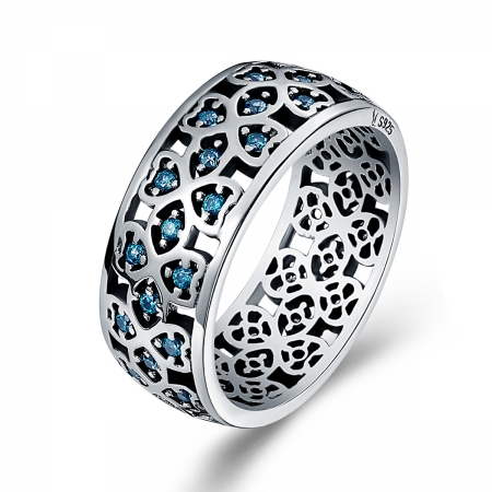 Inel argint 925 cu trifoi cu patru foi si zirconii albastre - Be Elegant IST0025