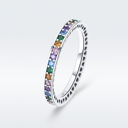 Inel argint 925 cu zirconii multicolore de jur imprejur - Be Elegant IST0057 [5]