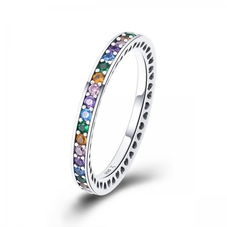 Inel argint 925 cu zirconii multicolore de jur imprejur - Be Elegant IST0057