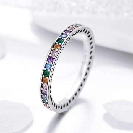 Inel argint 925 cu zirconii multicolore de jur imprejur - Be Elegant IST0057 [3]