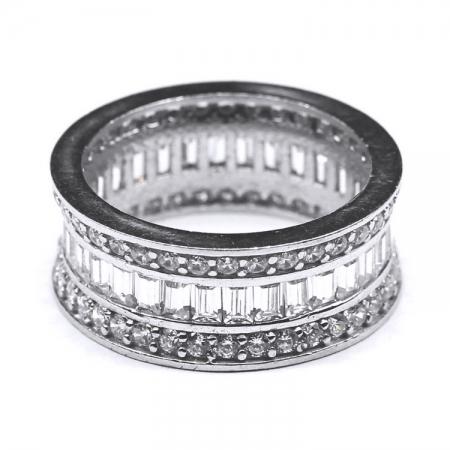 Inel lat din argint 925 elegant cu zirconii albe INE0322