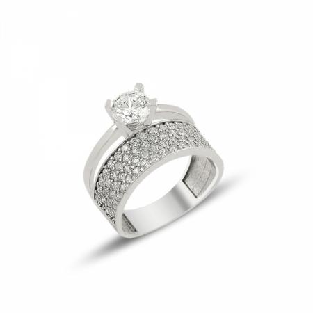 Inel argint 925 Eternity & Solitaire, cu 4 randuri de zirconii mici si o piatra mare , placat cu rodiu