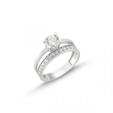 Inel argint 925 Eternity & Solitaire, cu un rand de zirconii mici si o piatra mare
