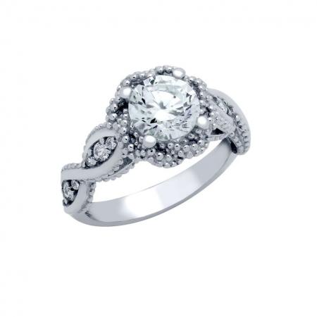 Inel elegant floare din argint 925 rodiat cu zirconii ISX0475