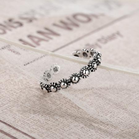 Inel argint 925 reglabil cu flori si aspect vintage - Be Nature IST00225