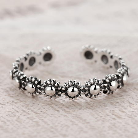 Inel argint 925 reglabil cu flori si aspect vintage - Be Nature IST00224