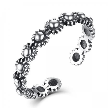 Inel argint 925 reglabil cu flori si aspect vintage - Be Nature IST00220