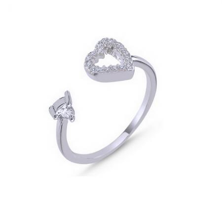 Inel argint 925 reglabil cu inimioara si zirconii albe