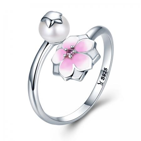 Inel argint 925 reglabil cu perla, floare si zirconiu roz - Be Nature IST0030