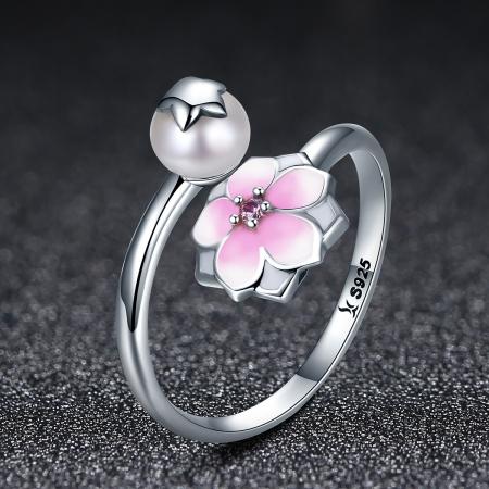 Inel argint 925 reglabil cu perla, floare si zirconiu roz - Be Nature IST0030 [2]