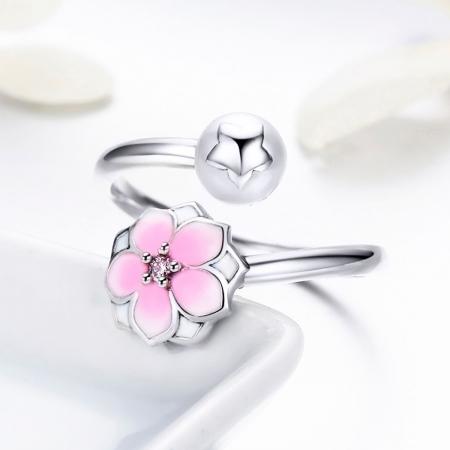 Inel argint 925 reglabil cu perla, floare si zirconiu roz - Be Nature IST0030 [3]