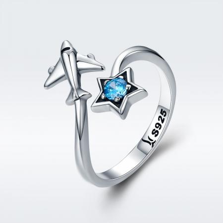 Inel argint 925 reglabil cu steluta albastra si avion argintiu - Be Nature IST00472