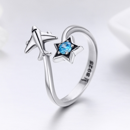 Inel argint 925 reglabil cu steluta albastra si avion argintiu - Be Nature IST00473