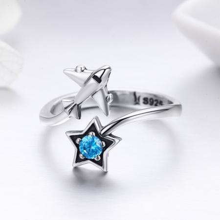Inel argint 925 reglabil cu steluta albastra si avion argintiu - Be Nature IST00471