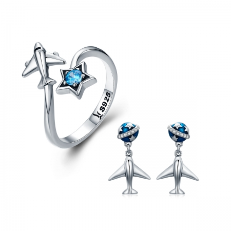 Inel argint 925 reglabil cu steluta albastra si avion argintiu - Be Nature IST00476