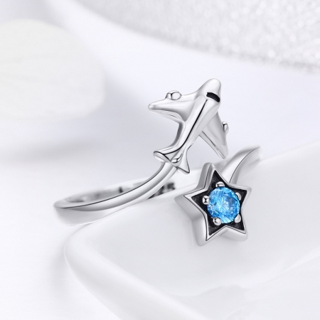 Inel argint 925 reglabil cu steluta albastra si avion argintiu - Be Nature IST00474