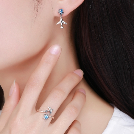 Inel argint 925 reglabil cu steluta albastra si avion argintiu - Be Nature IST00477