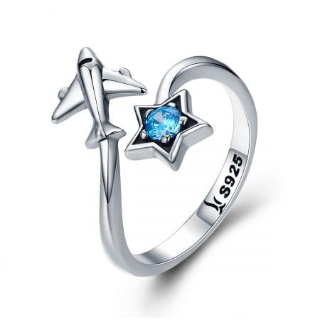 Inel argint 925 reglabil cu steluta albastra si avion argintiu - Be Nature IST0047