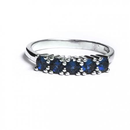 Inel argint 925 rodiat cu pietre albastre INE0768