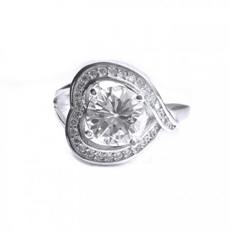 Inel argint 925 rodiat cu zirconii model inimioara
