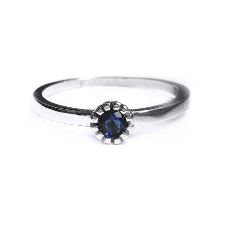 Inel argint 925 rodiat cu zirconiu albastru INE0808