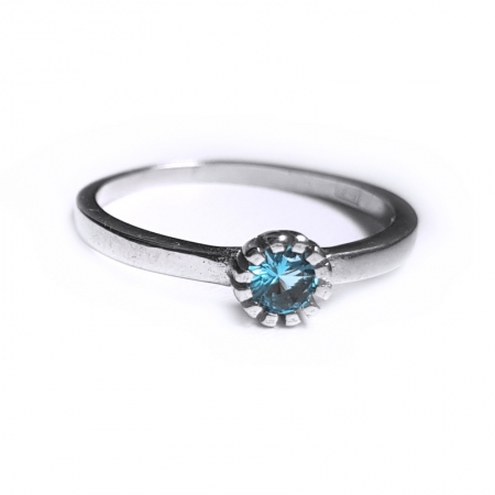 Inel argint 925 rodiat cu zirconiu bleu INE0809