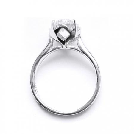 Inel argint 925 rodiat cu zirconiu rotund
