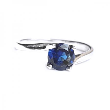 Inel argint 925 rodiat cu piatra albastra