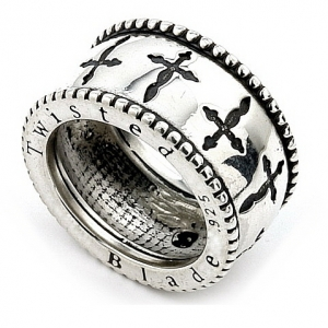 Inel argint 925 TWISTED BLADE cu aspect vintage0