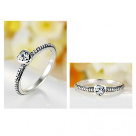 Inel argint 935 cu inimioara alba - Be in Love IST00092