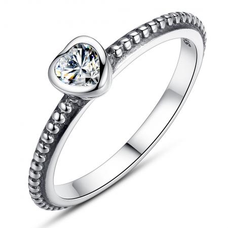 Inel argint 935 cu inimioara alba - Be in Love IST0009
