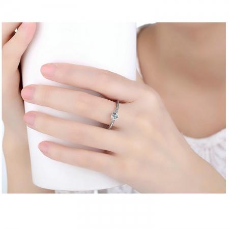 Inel argint 935 cu inimioara alba - Be in Love IST00091