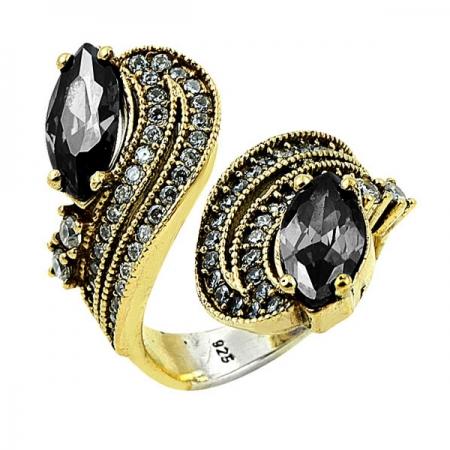 Inel argint auriu cu zirconii negre - Statement
