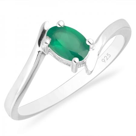 Inel argint Aurora, 925, cu agat verde - IVA0039