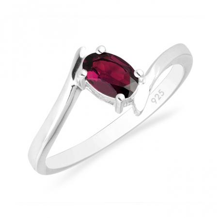 Inel argint Aurora, 925, cu piatra rosie - IVA00036