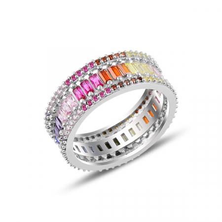 Inel argint Baguette cu zirconii multicolore, placat cu rodiu