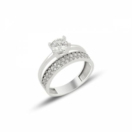 Inel argint cu 2 randuri de zirconii albe mici si un zirconiu mare - Eternity & Solitaire