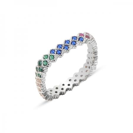 Inel argint cu 2 randuri de zirconii multicolore - Eternity