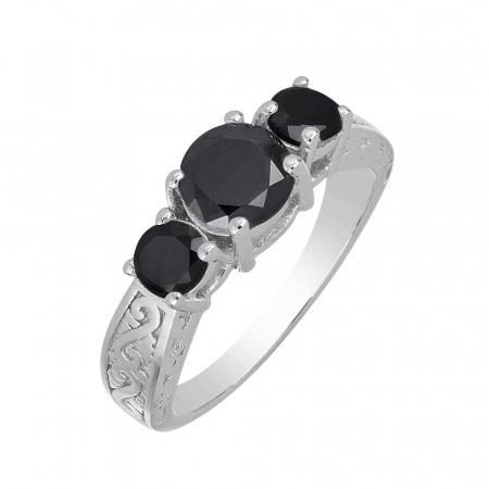 Inel argint cu 3 pietre de Onix - IVA0110