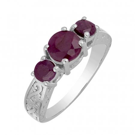 Inel argint cu 3 pietre de rubin - IVA0114