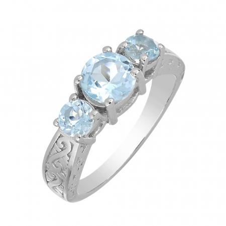 Inel argint cu 3 pietre de topaz cer albastru - IVA0115